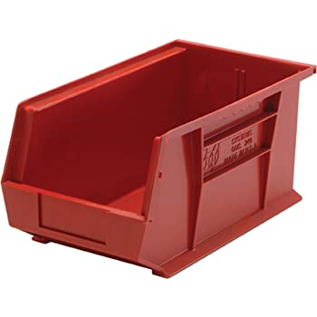Quantum QUS240 Plastic Storage Stacking Ultra Bin, 14-Inch by 8-Inch by 7-Inch, Red, Case of 12