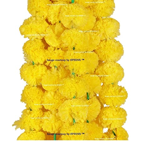 SPHINX Artificial Marigold Flowers Garlands (Yellow, 5 Pc)