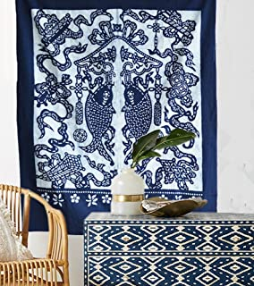 Indigo Shibori Hand Dyed Tapestry Japanese Noren Door Curtain Home Décor,41.3