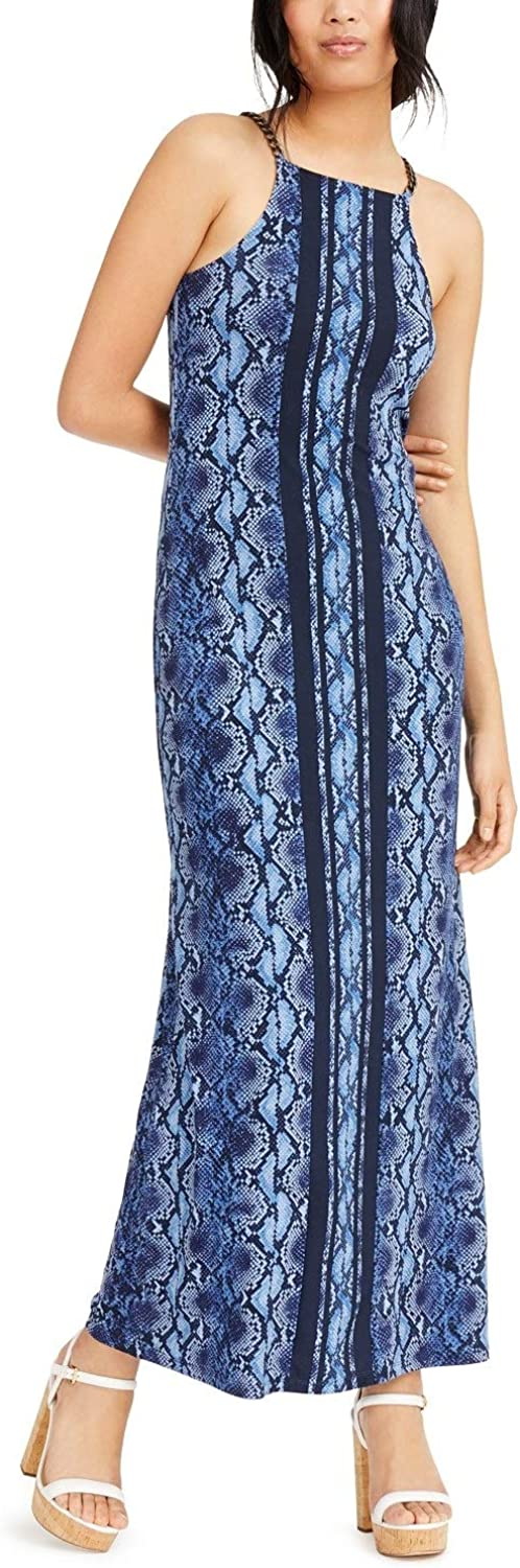 Max 80% OFF Michael Kors Super Special SALE held Chain-Link Python-Print Chambray Maxi Dress