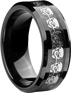 8mm Infinity Black Tungsten Wedding Ring Silver Skull Skeleton Inlay Statement Couple Jewellery