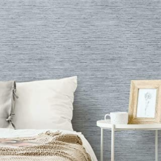 RoomMates RMK11561WP Blue & Grey Grasscloth Peel and Stick Removable Wallpaper
