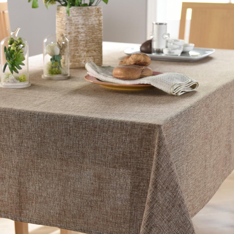 QT Couleur Unie Européenne Nappe Style Tissus Coton, Nappe Lin Rectangle Rond Nappe-G 180x180cm(71x71inch)