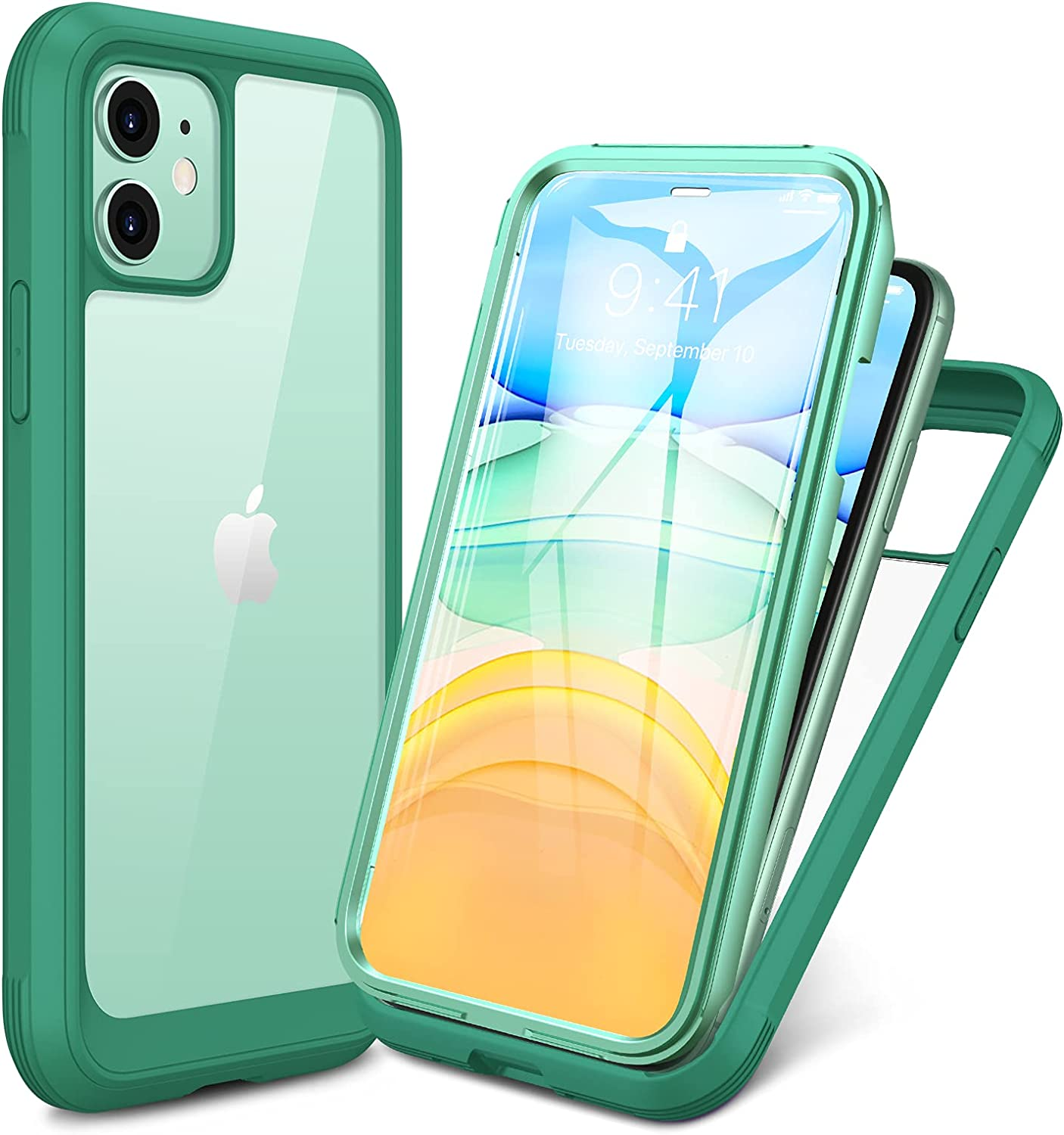 Miracase Glass+ Case for iPhone 11 6.1 inch, 2021 Upgrade Full-Body Clear Bumper Case with Built-in 9H Tempered Glass Screen Protector for iPhone 11, Light Green