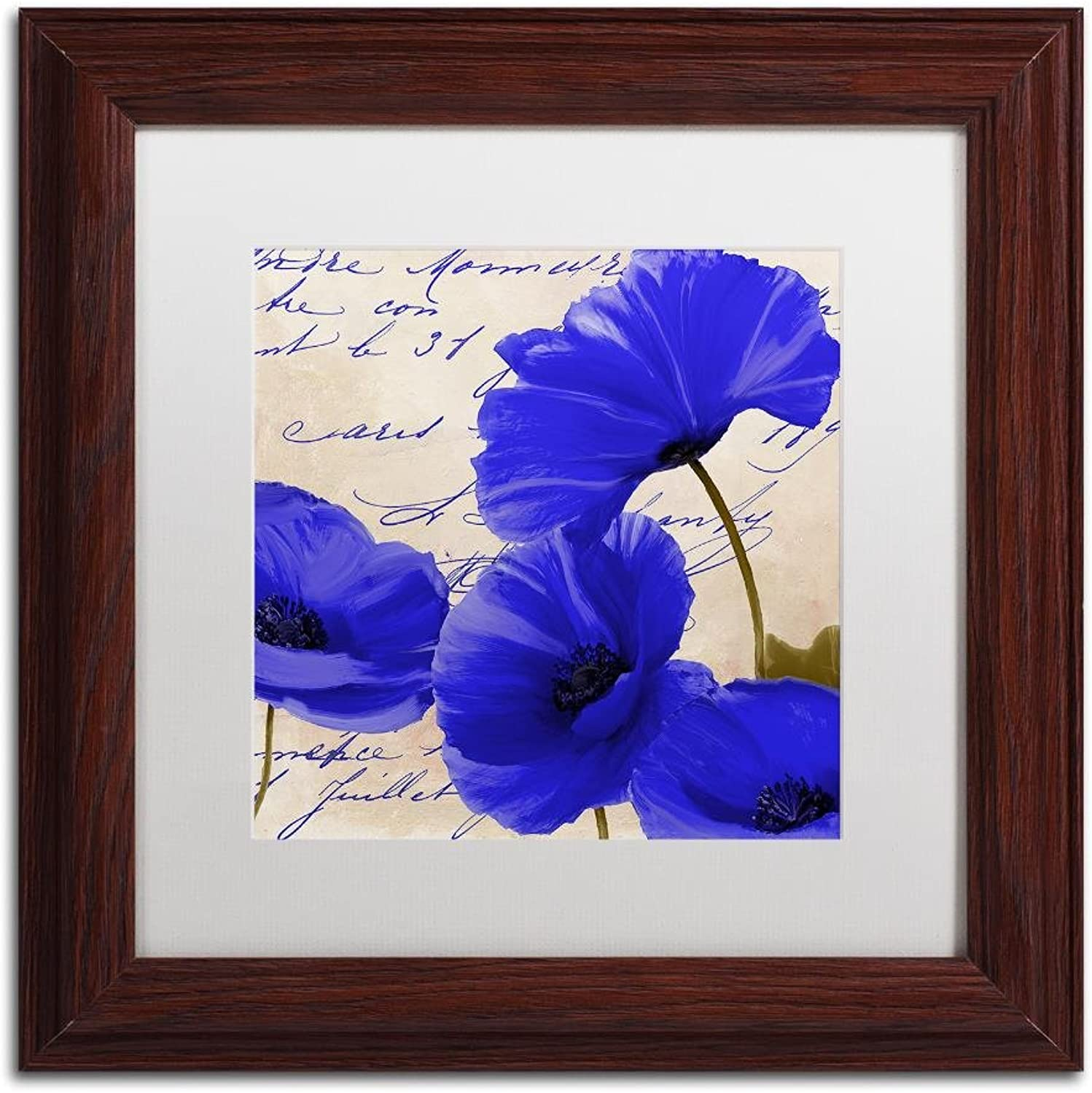 Trademark Fine Art Coquelicots bluees I by color Bakery, White Matte, Wood Frame 11x11, Wall Art