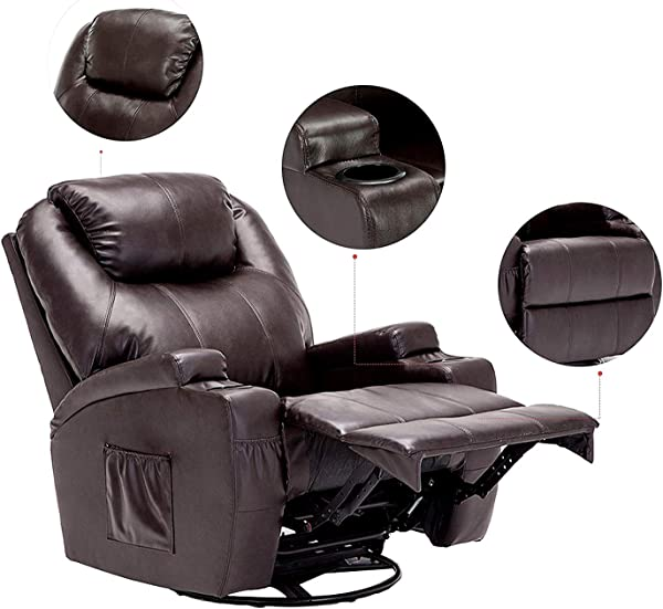 Windaze Massage Recliner Chair 360 Degree Swivel Heated Recliner Bonded Leather Sofa Rocking Chair With 8 Vibration Motors Brown