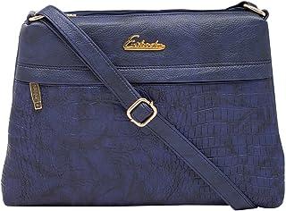ESBEDA D-Blue Color Stripe Pu Synthetic Material Medium Size Slingbag For Women