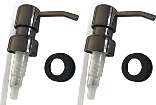 Industrial Rewind Bronze Soap Pumps with Collar Rings - 2pk - Replacement Pumps for Your Bottles, Mason Jars or Other DIY Soap or Lotion Dispensers