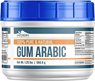 Gum Arabic (Acacia) Powder, (1.25 lb) by Earthborn Elements, Food Grade, DIY Watercolor Paint, Craft Cocktails, Royal Icing, Ice Cream, Confectionary Crafts, Resealable Tub