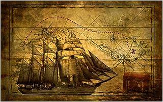 QQWER Vintage Bateau Pirate avec Carte au trésor Affiche peintures sur Toile Mur Art Photos Impression sur Toile décor à l...