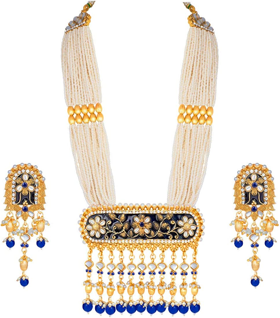Aheli Indian Traditional Pearl and Kundan Bombing Direct stock discount new work Necklace with E Choker