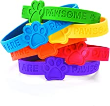 Fun Express Paw Print Rubber Bracelets - Pack of 24