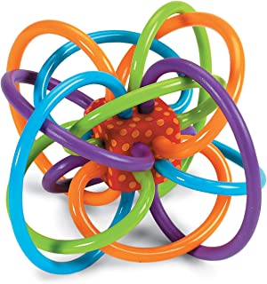 Manhattan Toy Winkel Rattle and Sensory Teether Baby Toy, Blue/Green/Orange