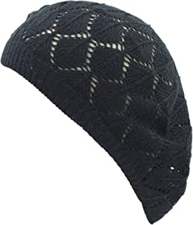 an Womens Lightweight Cut Out Knit Beanie Beret Cap Crochet Hat - Many Styles