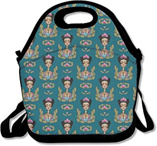 CYOLZD Frida Kahlo PatternNeoprene Lunch Bags,Cute Lunch Box for Kids,Women,for Men,School Picnic Work Lunch Bags,Zippered Lunch Tote Bag