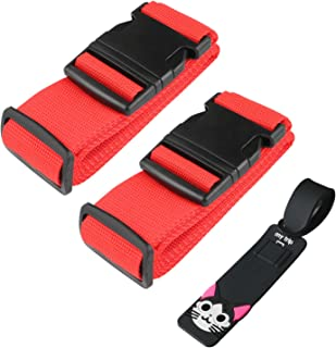 MXZONE 2 Pack Luggage Straps Suitcase Adjustable Belts, Travel Accessories Bag Straps with ID Label Universal Belt Free Lu...