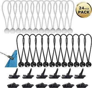 YuChiSX 24 Tensores Profesionales con Bola para Carteles,Tensores Elasticos Tensor de Lonas Tensores con Bola para Carteles para Cortinas de Jardín,Pabellones,Tiendas de Campaña