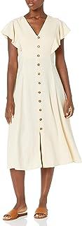 Calvin Klein Women's Flutter Sleeve V-Neck Midi with Button Front Dress