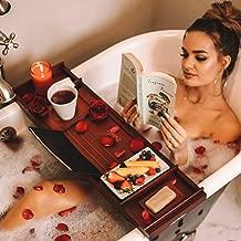 Estala Bamboo Bathtub Tray Bathroom Caddy – Bathtub Caddy Organizer Bath Tray for Tub – Durable Bamboo with Nonslip Bottom & Extendable Sides – Book/Tablet Holder, Wine Glass Holder & Soap Dish