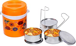Omiro Lunch Box I-30 for Office, Stainless Steel, 3 Container Set, Orange