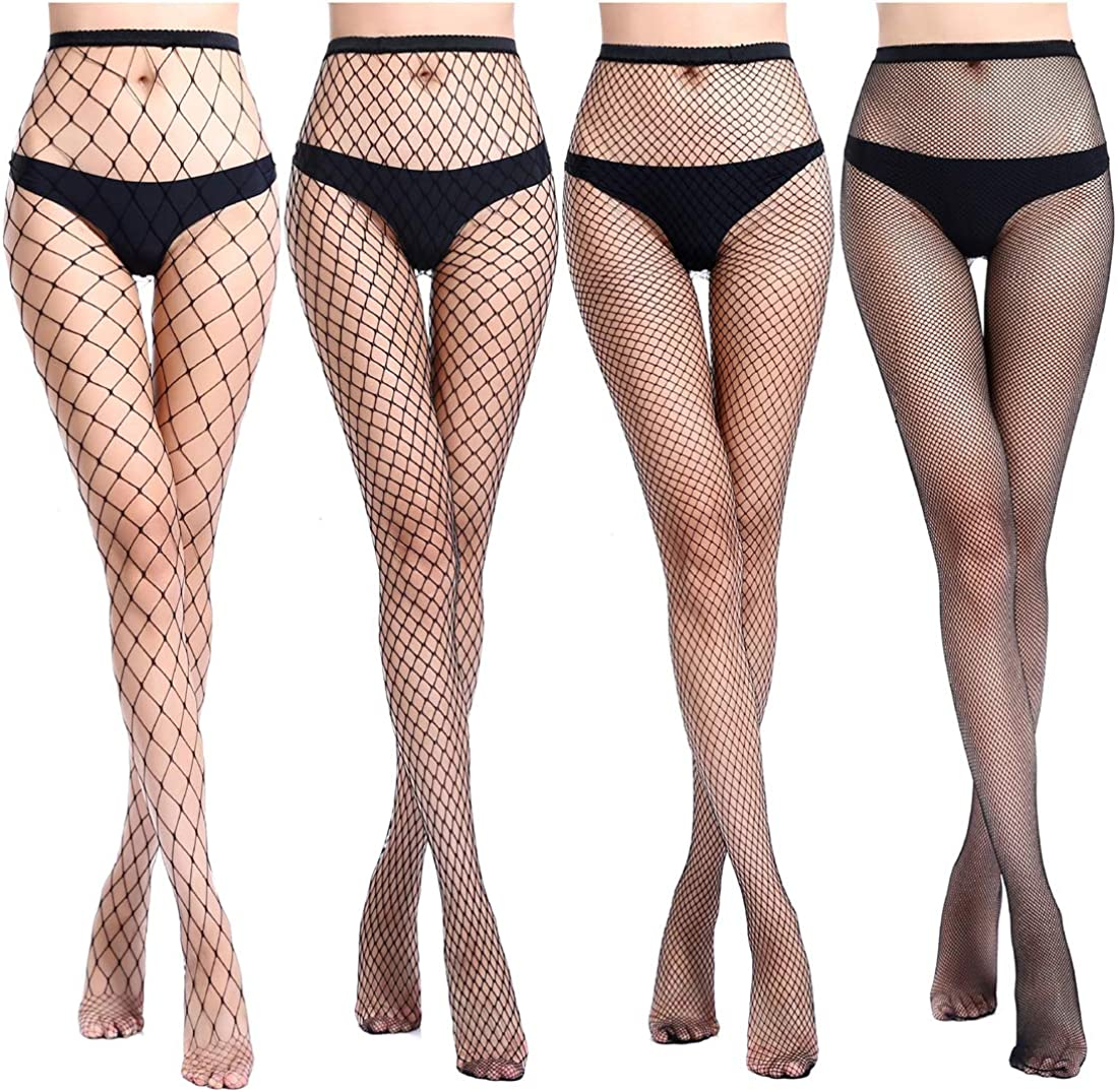 JoMaKaC Women's High Waisted Tights Fishnet Stockings Thigh High Pantyhose