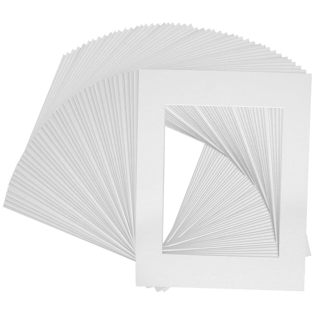 US Art Supply Art Mats Brand Premier Acid-Free Pre-Cut 11x14 White Picture Mat Matte Face Frames. Includes a Pack of 50 White Core Bevel Cut Matte Frames for 8x10 Photos