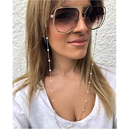 Sunglasses Lanyard Strap Necklace Eyeglass Pearl Chain Cord For Enjoying Reading