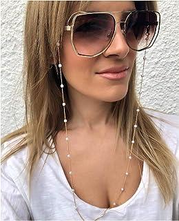Sither Eyeglass Chains Necklace Pearl Beaded Eyewear Retainer Reading Eyeglass Holder Strap Sunglasses Holder Cords Eyewea...