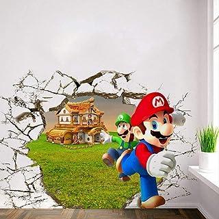 ملصقات الحائط لعبة ملصق سوبر الإخوة مضحك كسر نوع جدار غرفة الاطفال ملصقات 3D غرفة نوم الديكور الكرتون خلفية