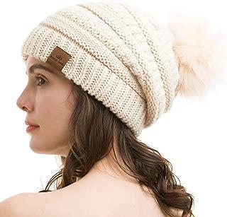 Womens Fleece Lined Slouchy Confetti Beanie Chunky Baggy Hat Fur Pom Pom Winter Soft Warm Cap