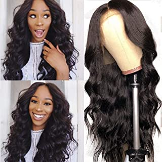 Luduna Brazilian Human Hair Body Wave 13x4 Lace Front Wigs with Baby Hair 130% Density Pre-Plucked Brazilian Virgin Remy Human Hair Lace Front Wigs For Black Women (10'', Natural Color)