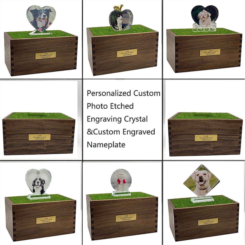Urna Funeraria de Cremaci/ón Conmemorativa de Mascotas Hecha a Mano de Madera para Cenizas de Perros Gato Grandes Caja de Urnas Personalizada de con Foto Cristal de Grabado Nombre y Fecha Mensaje A