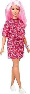 'Barbie Fashionistas' lalka #151 z długimi różowymi włosami w czerwonej topie i spódnicy w paisley, białe trampki i branso...