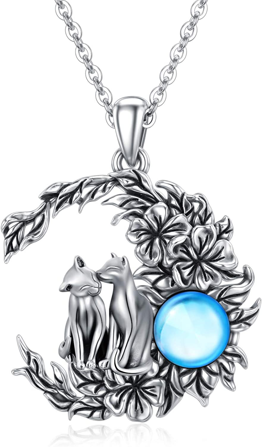 925 Sterling Silver Vintage Lucky Max 59% OFF Moon Owl Women New popularity O for Necklaces