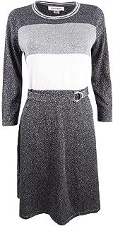 Calvin Klein Womens Petites Metallic Above-Knee Sweaterdress