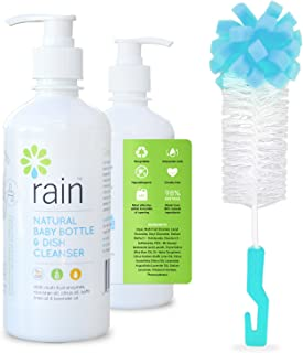 Baby Bottle Dish Soap Cleaner - Rain Natural Biodegradable Liquid Foaming Dishwashing Detergent, Plant-Based Formula, Hypoallergenic, 13.5 oz (with Cleaning Brush)