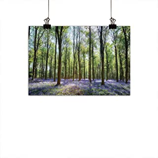 Country Woodland Decor Light Luxury Oil Painting, Bluebells in Wepham Woods Landscape Flowers Rural Picture Mural Wall Picture Home Office Decor, 31