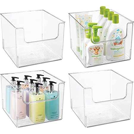 mDesign boîte de rangement salle de bain (lot de 4) – boîte en plastique en forme de cube pour articles de salle de bain – caisse de rangement idéale pour cosmétiques et make-up – transparent