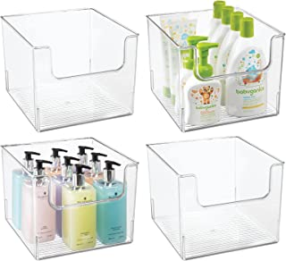 mDesign boîte de rangement salle de bain (lot de 4) – boîte en plastique en forme de cube pour articles de salle de bain –...