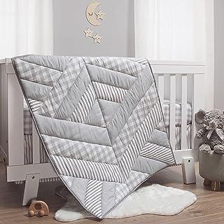 The Peanutshell Grey Plaid Crib Bedding Set for Boys or Girls - 3 Piece Unisex Nursery Set - Crib Comforter, Fitted Crib S...