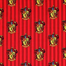 Harry Potter Gryffindor Emblem with Stripes Premium Quality 100% Cotton Sold by The Yard