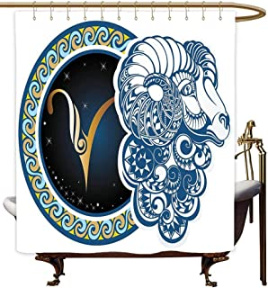 MaryMunger Bath Shower Curtain Zodiac Astrological Aries Symbol with Horned Head Ram Goat Animal Terrestrial Event Image goof Proof Shower W48x84L Blue Gold