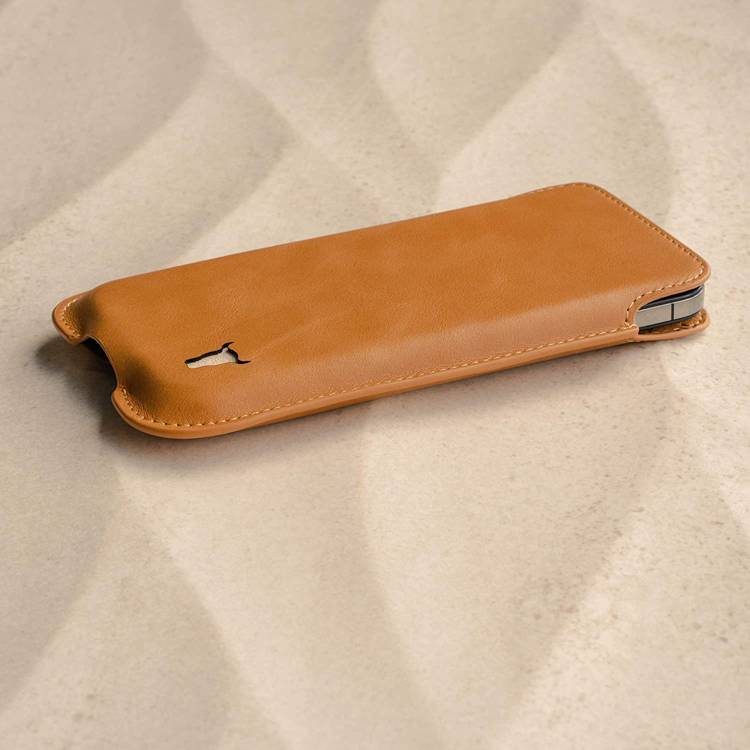 TORRO Sleeve Case Compatible With Apple iPhone 12 Pro Max Tan Slim Profile and Lightweight Genuine Leather Pouch Cover Quality