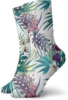 N / A, Calcetines hawaianos de orquídea de acuarela con flores y piñas, para hombres, mujeres, niños, trekking, potencia, exteriores, 30 cm