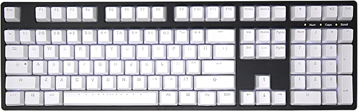 IKBC PBT Backlit Doubleshot Mechancial Keyboard Keycap Set for Mechanical Keyboard with Cherry MX Switch, White Color, 108 Keys