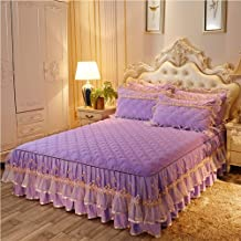 Mattress Cover Queen Size Bed,Lace Skin-Friendly Bed Skirt Mattress Cover Available in All Seasons Skirt Design Elastic Ba...