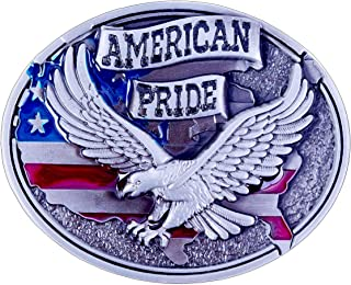 American Pride Eagle And USA Flag Design Cowboy Belt Buckles