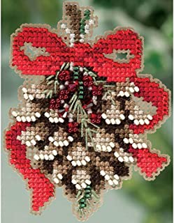 Pinecone Beaded Counted Cross Stitch Holiday Ornament Kit Mill Hill 2015 Winter Holiday MH185304