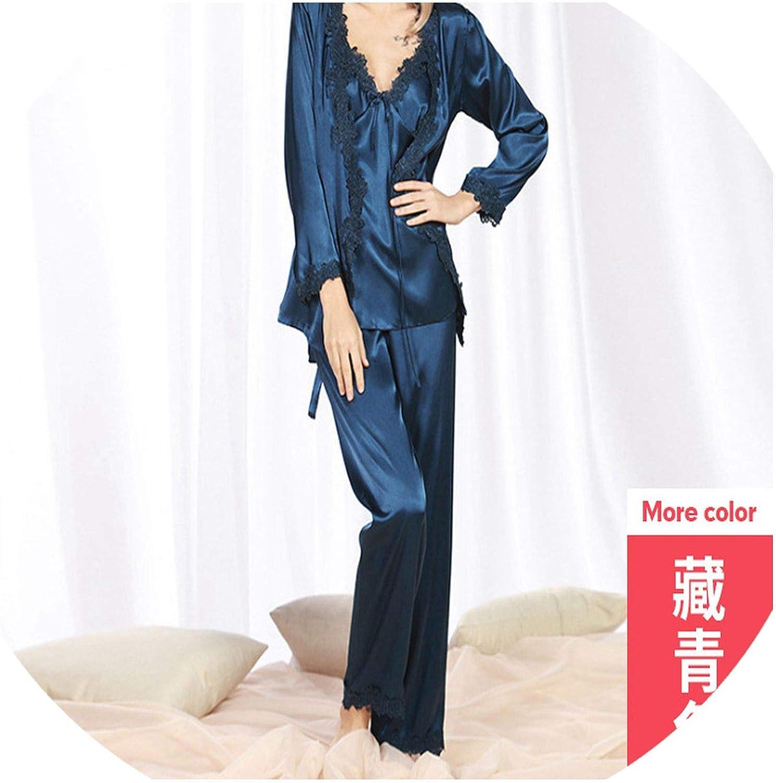 OnIn sleepwear Bathrobe NinePoint Sleeve Pajamas Ladies ThreePiece Silk lace Sexy Pajamas Home Service