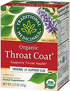 Traditional Medicinals Organic Throat Coat Herbal Tea Caffeine Free, 16 Count